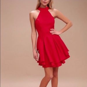 COPY - NWT- LULUS Red Backless Dress